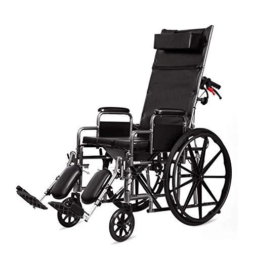 Y-L Behinderter Älterer Handstoß-Faltbarer Tragbarer Rollstuhl, Völlig Liegender Rollstuhl mit Toiletten-Multifunktionsbadestuhl für Ältere Behinderte