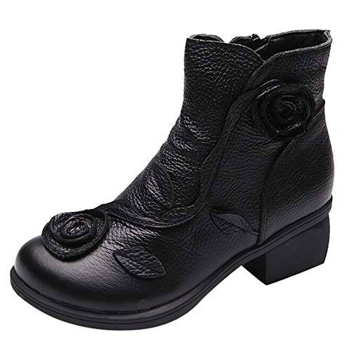 MYMYG Frauen ethnischen Stil Stiefel handgenäht Blumen Schuhe Leder Retro Stiefel Klassische Freizeitschuhe Kurzschaft Wildleder Stiefel...