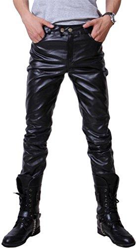 SMITHROAD Herrenhose Motorrad PU Lederhose Skinny Clubwear Kostüm Bekleidung Golden Silber Schwarz (Kostüme Rave Clubwear)