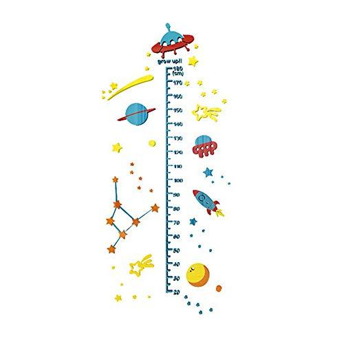 ED-Lumos Gráfico de crecimiento 3D Pegatinas de Pared DIY Adhesivo decorativo para pared Medidor de altura para niños Diseño de Universo 200cm x 50cm