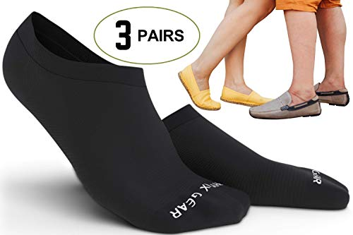 Physix Gear Sport No Show Socks Pack For Men & Women - Best Athletic & Casual Low Cut With Non Slip Silicone Heel Grip - Anti Bacterial Odor & Sweat Absorbing For Girls Flats & Running (All Blk) (Running No Show Sock)