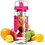 Wuze Fruit Infuser Water Bottle With Time Tracker, 1 L, Pink Color