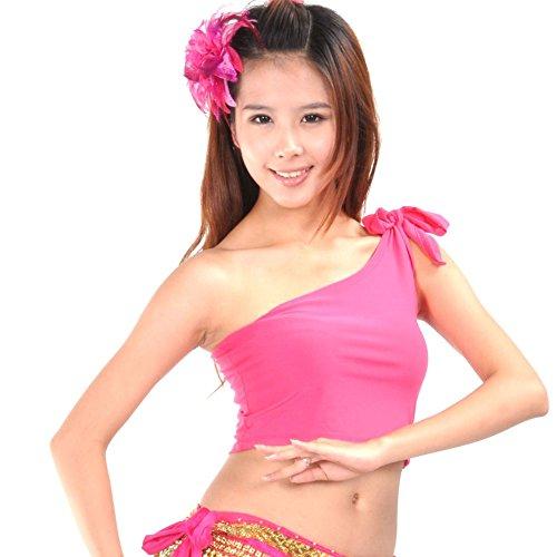 Yalatan Latin Belly Dance Bolero Crop Top Shirt One Shoulder Blouse Choli Hot Pink