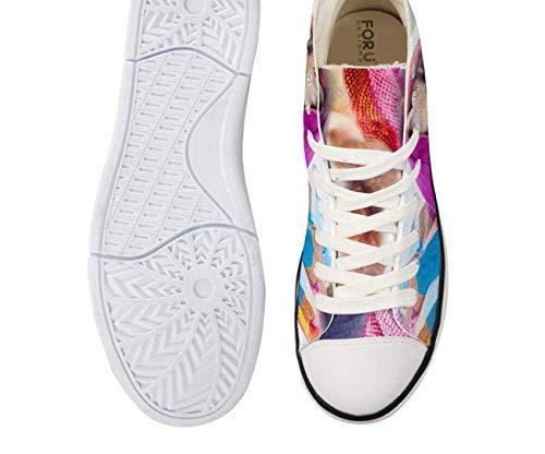 Pug Women Fashion High Top Lace Up Trainers Canvas Shoes Size UK2-8 Couple Shoes pink+Blue CA5043AK UK 5\u002FEU38