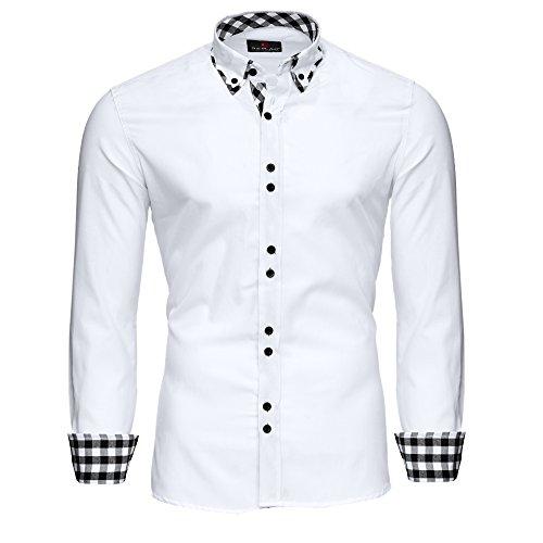 Reslad Herren Hemd Karo- Kontrastkragen Langarmhemd RS-7206 Weiß M