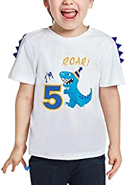 AMZTM 5 Años Dinosaurio Camiseta Cumpleaños - Niños Manga Corta Top