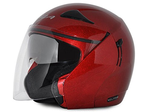 Vega Eclipse ECL-R-L Open Face Helmet with Double Visor (Red, L)