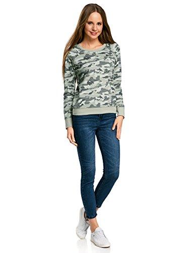 oodji Ultra Damen Baumwoll-Sweatshirt Basic Grün (6025O)