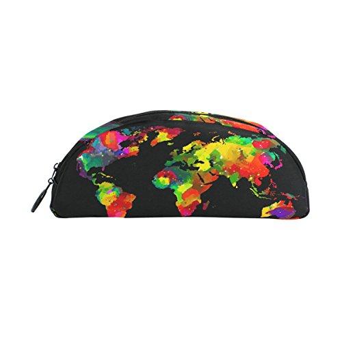 zzkko Colorful World Map Reißverschluss Pen Bleistift Tasche für Kinder Mädchen Jungen Jugendliche Erwachsene