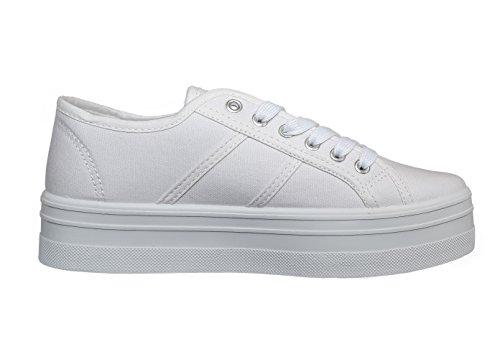 Hailys Damen Plateau Sneaker Low Top Canvas Sportschuhe (40, White) Canvas Low Top Sneaker