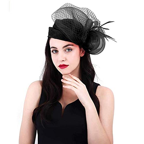 QINJLI Fascinators Vintage Hut Net Kentucky Derby Hut Handgemachte Blume Cocktail Tea Party Feder Brautschleier Besondere Anlässe Hanf Haarschmuck Haarspangen (Color : Black) (Black Tea-party-hut)