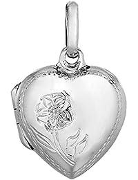Plata de ley con acabado de rodio Floral grabado en forma de corazón colgante Charms - 20 x 20 mm