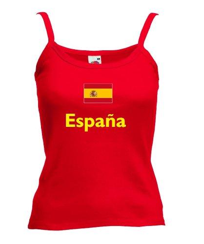Fruit of the Loom Spanien Espana Damen T-Shirt Spaghettiträger WM 2014|r-m