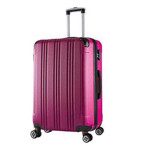 WOLTU RK4208pk-XL, Reise Koffer Trolley Hartschale Volumen erweiterbar, Reisekoffer Hartschalenkoffer 4 Rollen, M/L/XL/Set, leicht und günstig, Pink (XL, 76 cm & 110 Liter)