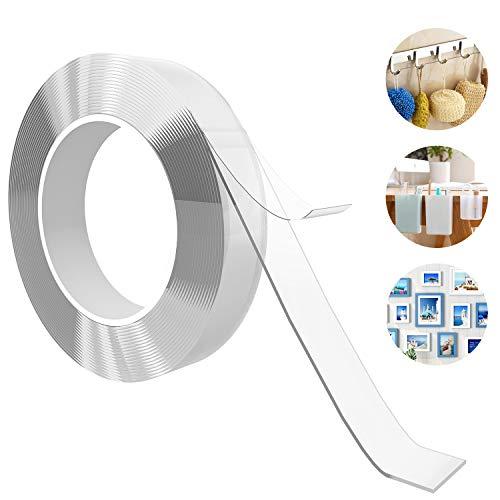 Outivity Waschbares Spurloses Klebeband, wiederverwendbares stark klebendes Teppichklebeband, spurloses waschbares Gel-Klebeband für Haus, Küche, Fahrzeuginnenraum (3 × 0.2 × 300 cm)