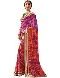 Shangrila Designer Women's Georgette Saree With Blouse Piece (Sd-4812_Pink-Orange)