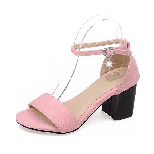VogueZone009 Damen Rein Mattglasbirne Hoher Absatz Offener Zehe Schnalle Sandalen Mit Hohem Absatz Pink