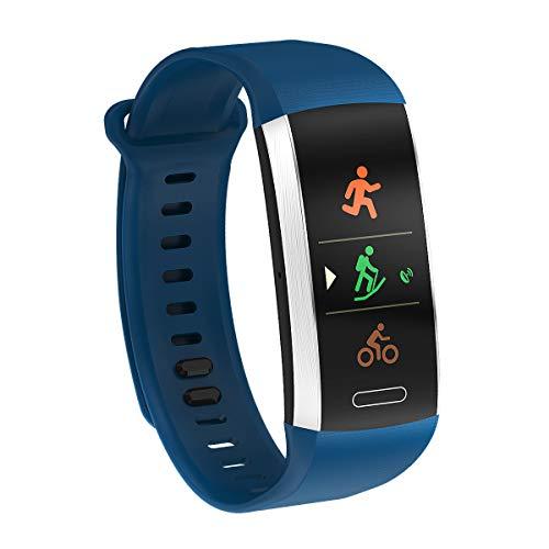 TYWZF Fitness Tracker IP67 Impermeable Altímetro Barómetro Termómetro Deportes Múltiples Modo Pulsera Inteligente,Blue