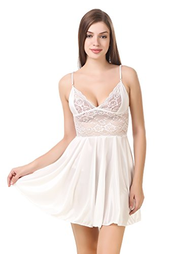 PHWOAR Women Satin Babydoll Night Dress Short Length Free Size 016304bce