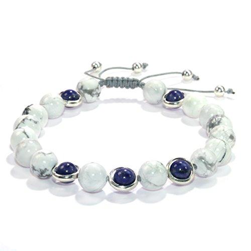 Jan Dee natur weiß Howlith Lapis Lazuli Kristall verstellbar Nylon Cord bracelet-unisex