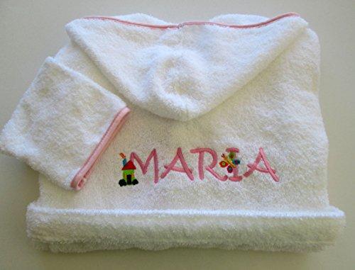 Persönlichen Set Bademantel und Baby Kapuzen Handtuch-Monogramm (2Buchstaben) Weiß / Rosa
