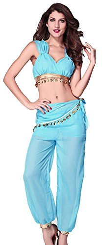 Uk Jasmin Kostüm (Damen Sexy Genie Jasmin ab Bauch Dancer Film Halloween Cartoon Fancy Kleid Kostüm Outfit UK 8-10-12 - Blau, One)