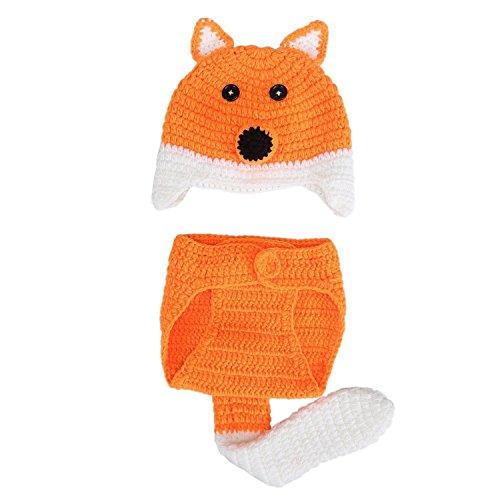 TOOGOO Baby Foto Requisiten Baby Maedchen Jungen stricken Baby Outfits Kostuem Hut und Hose fuer 0-6 Monate Baby (Fuchs) (Süsse Fuchs Kostüm Kind)