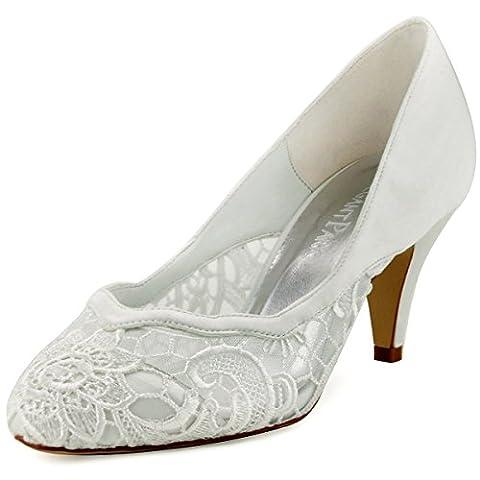 ElegantPark HC1501 Escarpins Femme Bord d'onde Lace Chaussures de mariee mariage (Ivoire), 40