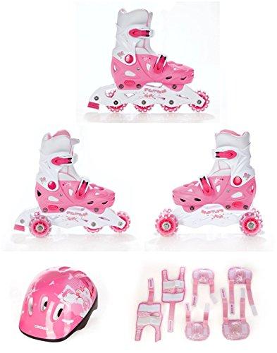 3in1 Kinder Inlineskates/Triskates/Rollschuhe Croxer Balloon verstellbar + Schützer + Helm