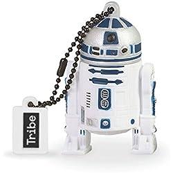 Tribe Disney Star Wars R2D2 Chiavetta USB da 16 GB Pendrive Memoria USB Flash Drive 2.0 Memory Stick, Idee Regalo Originali, Figurine 3D, Archiviazione Dati USB Gadget in PVC con Portachiavi - Bianco