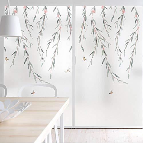 Weidenmuster Sichtschutzfenster Zuckergussfolie No-Glue Dekorative Fensterglasaufkleber Bad Küche Büro Anti-Uv, 120X80cm -