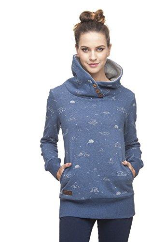 Ragwear Angel Damen Frauen Sweater, Kapuzenpulli, Hoodie, Bequem, Stylisch, Allover-Print,Regular Fit,Baumwolle,Mid Indigo(2056), S
