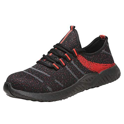 Arbeitsschuhe Stahlkappe Sicherheitsschuhe Sneaker Atmungsaktive Strassenschuhe Anti-Smashing Schuhe Pannensichere Sicherheitssneaker für Damen Herren, Schwarz, 38 EU