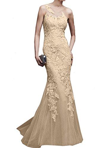 Ivydressing Damen Elegant Spitze Lang Abendkleider Meerjungfrau Ballkleid Promkleider Champagner