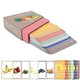 """Het Montessori leerzame spel voor peuters vanaf 1 jaar door """"Kakaduu"""": Mijn eerste woorden: Voedsel"""". 50 kaarten met foto's van voedsel. Flash Cards voor taalontwikkeling."""