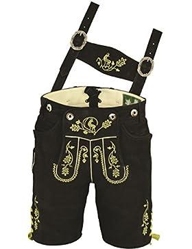 Erstklassige echt Leder bayerische Trachten Lederhose Herren kurz, Damen Trachtenlederhose aus Wildbock mit Träger...