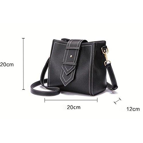 Frauen Mini Fashion Schultertasche Messenger Bag Beuteltasche,Black Black