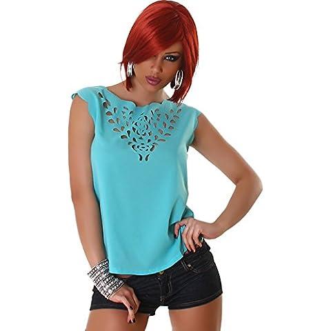 Jela London parte superiore delle signore della camicia camicette camicetta T-shirt senza maniche trasparente Senza chiusura Trendy