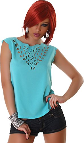 Jela London Damen Top Shirt Bluse Blusenshirt Transparent T-Shirt Ärmellos  ohne Verschluss Trendy Mint