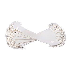 WINOMO 50 Stück Weiß Papier Herz Serviettenring Hochzeit Tischdeko Streudeko