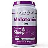 HealthyHey Nutrition Sleep Aid Melatonin 10mg, 120 vegetable capsules - Promotes Sleep