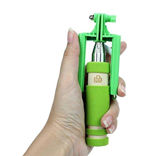 Tefamore Palo Selfie De Mini Extendable Dobladillo De Mano Auto-retrato Sostenedor Del Palillo Monopod (Verde)