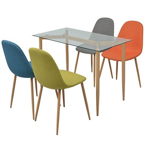 Festnight 5-teilige Essgruppe inkl. 1 Esstisch und 4 Essstühle Küchen Sitzgruppe Esszimmertisch Esszimmerstühle