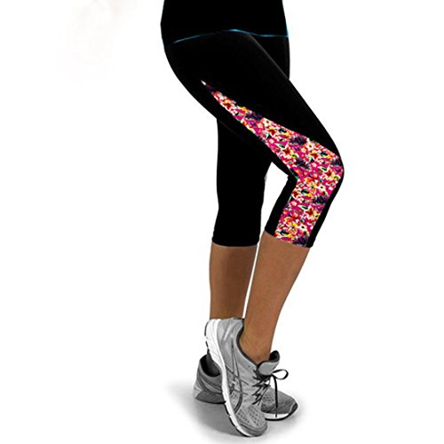 Elecenty Yogahosen Sporthose Damen,Dünne Leggings Yoga Hosen Caprihose Frauen Laufhose Strumpfhose Activewear Reizvolle Drucken Blumenmuster Trainingspants Hose Fitnesshose (S, Rosa) (Sommer Capri-outfit)