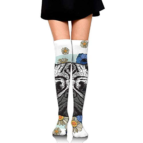 Women Black and White Head of A Pug on Floral Arrangement with Beautiful Flowers Daisies Spring High Boot Socks
