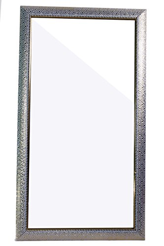 Fiber Wood Framed Decorative Wall Mirror Or Bathroom Mirror Silver (14X26 Inches)