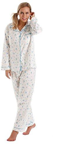 Damen Wynceyette 100% gebürsteter Baumwolle Floral Schlafanzug 660 Gr. 38, Turquoise Trim