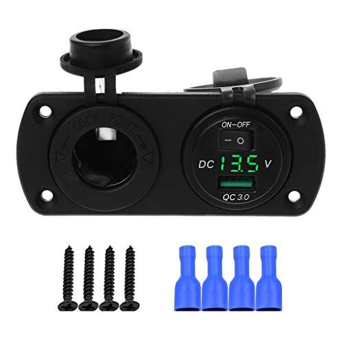 JENOR 12 V 24 V Schnellladung 3,0 USB Auto Ladegerät Adapter Steckdose LED Voltmeter Mit ON OFF Schalter Für Auto Marine ATV Handy Tablet GPS