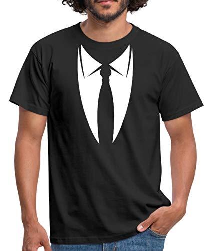 Spreadshirt Fake Anzug mit Krawatte Männer T-Shirt, L, Schwarz - Fake-krawatte