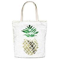Me Plus Summer Fashion Pineapple Flip Sequin Tote Shoulder Bag (Sequin Pineapple)